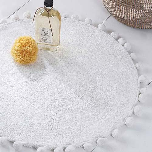 Bobble White Cotton Bath Mat